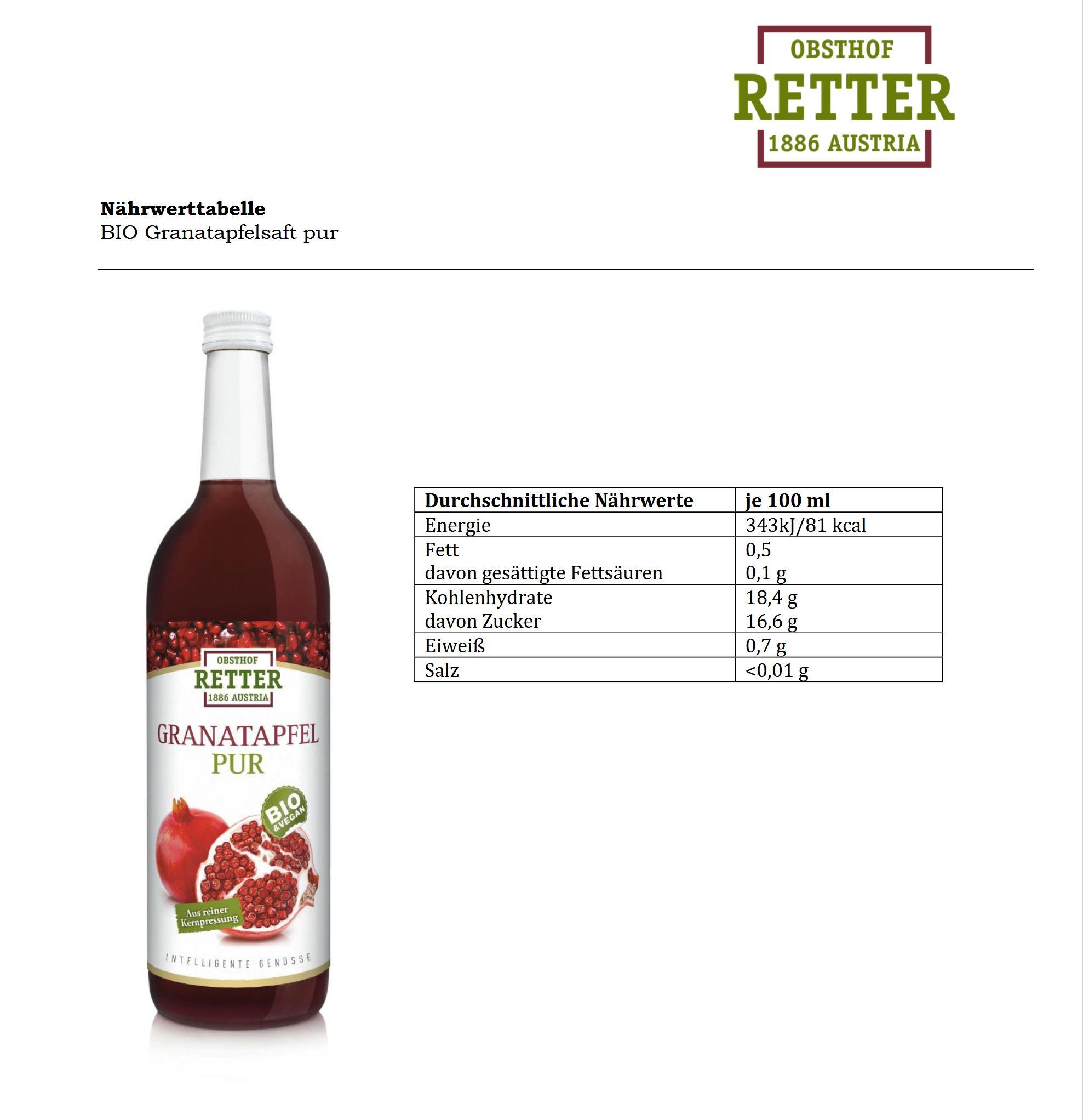 BIO Granatapfel pur, 100% Direktsaft