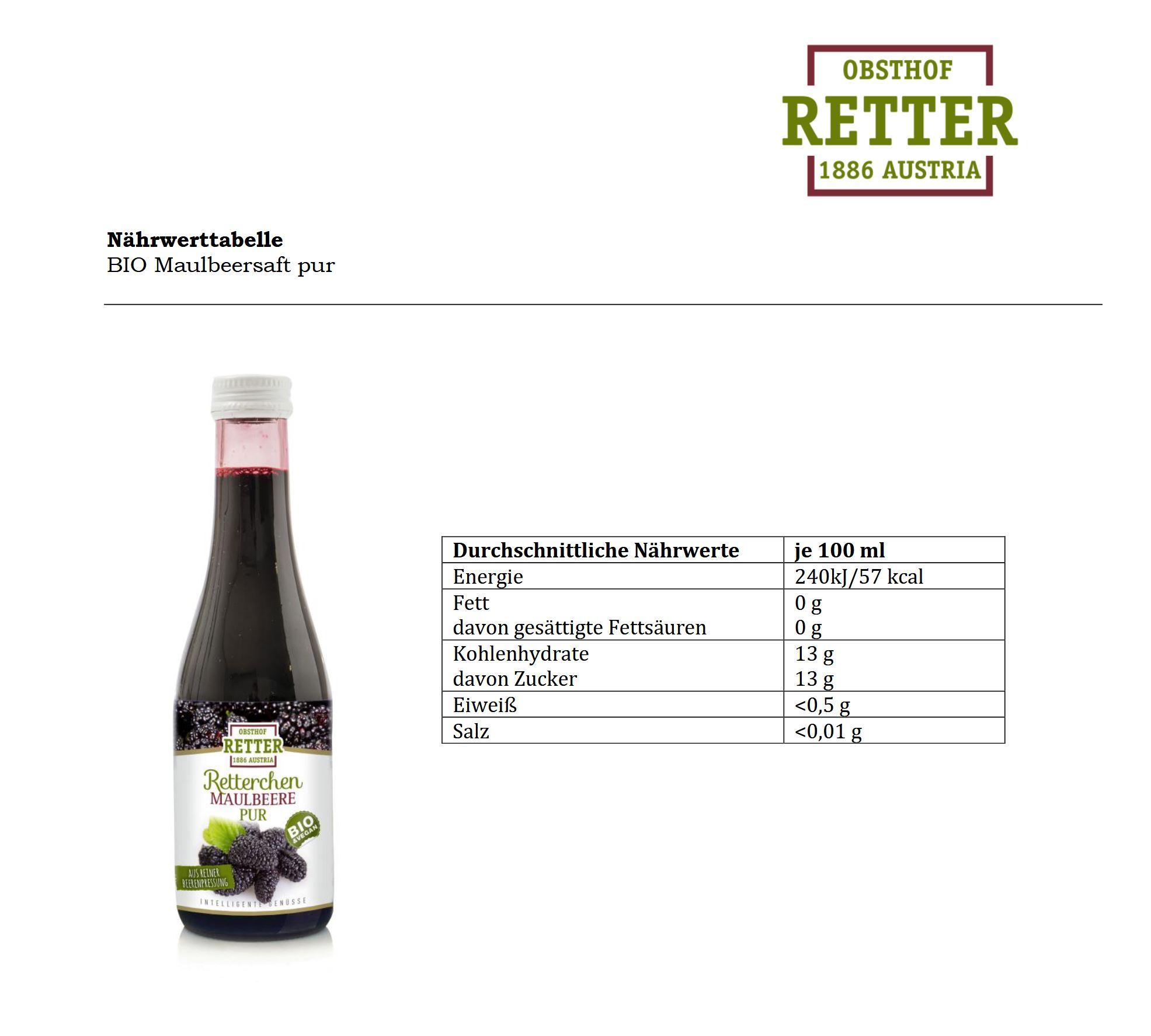 BIO Retterchen Maulbeere pur, 100% Direktsaft