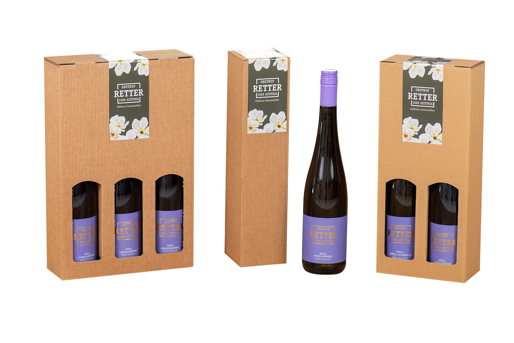 Natur-Geschenkbox |  3 Handgefertigt, für 3 Flasche