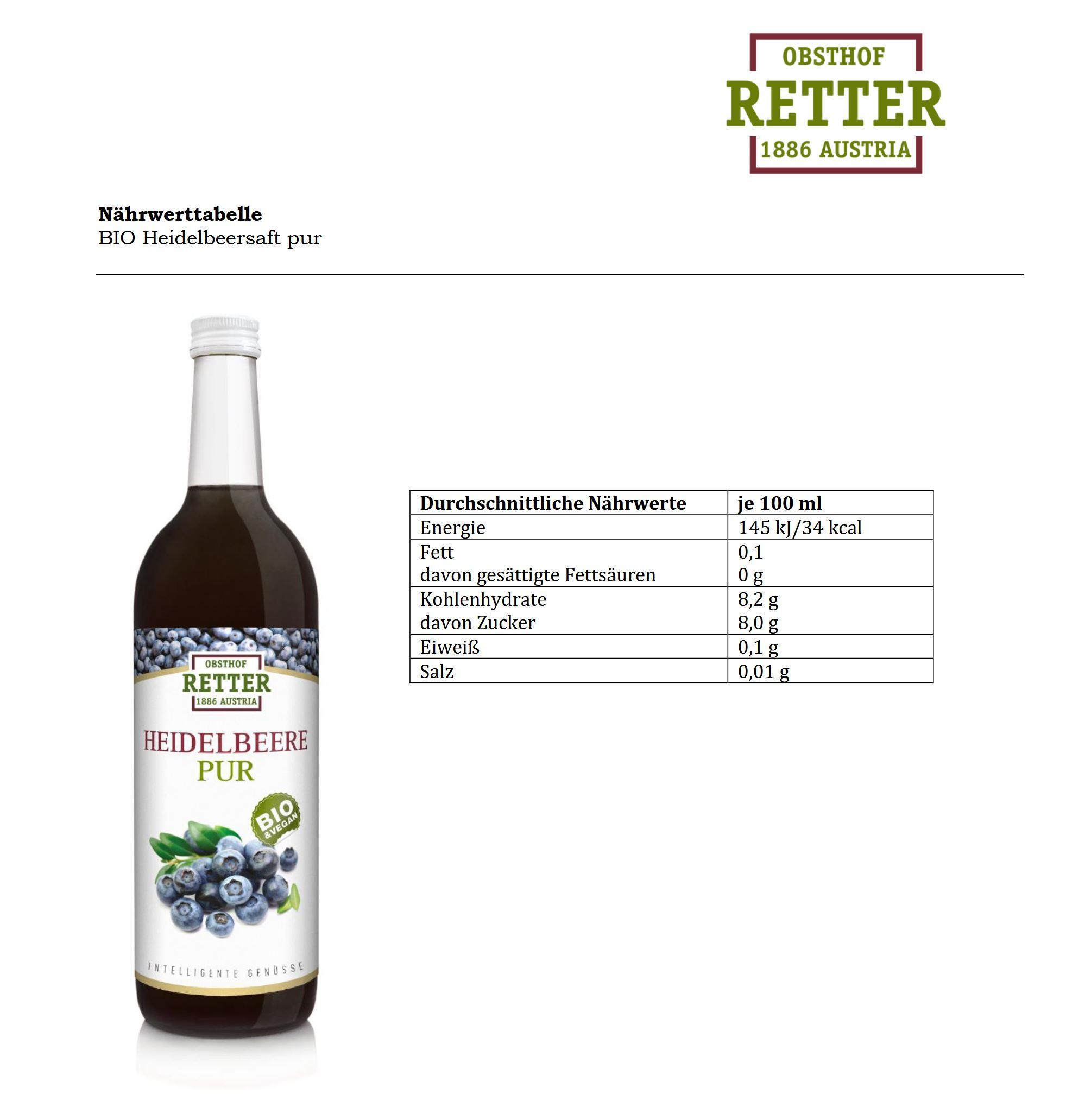 BIO Heidelbeere pur, 100 % Direktsaft